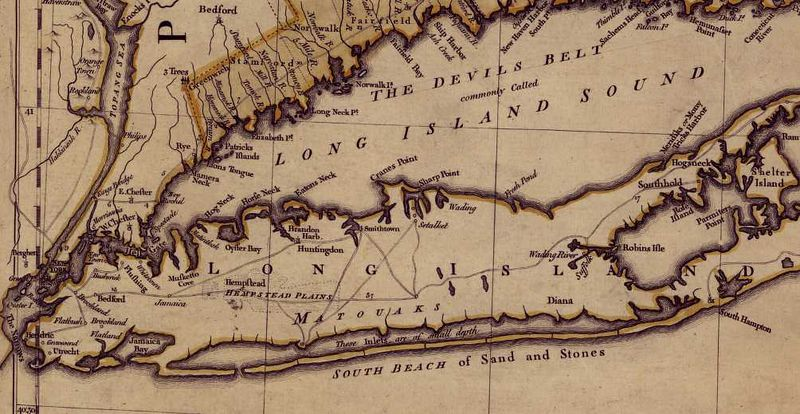 "<p>Detail from 1755 map shows ""South Beach of Sand and Stones"" (Thomas Jeffereys, <i>A map of the most inhabited part of New England</i>, London, 1755)</p> Full map at <a href=""http://memory.loc.gov/cgi-bin/query/r?ammem/gmd:@field(NUMBER+@band(g3720+ar079700))"">LOC</a>"