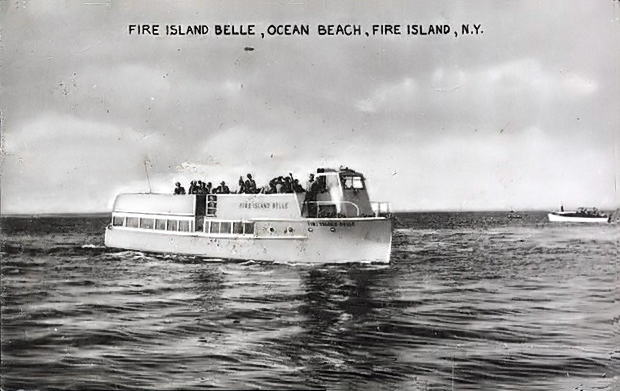 "Fire Island Belle, ca. 1955. This was apparently the first purpose-built  cross bay ferry, a 62' wooden boat  built in 1948. It has since been decommissioned, converted into a passenger yacht and is now for <a href=""http://www.yachtworld.com/boats/1948/Wheeler-Passenger-Ferry-Conversion-1912874/Stonington/CT/United-States"">sale</a> for $59,000. This is not the new Fire Island Belle, a two-deck aluminum ferry that entered service in 2009 and caught on fire in September, 2009.     (Original date was wrong, thanks for great comment from guest)"