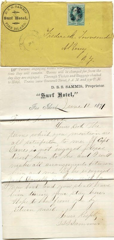 An 1871 letter from Surf Hotel proprietor David S. S. Sammis to Frederick Townsend, the NY state Attorney General, discussing a boat rental.