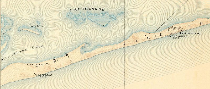 """Detail from 1902 US Coast and Geodetic Survey shows island buildings including development at Point O'Woods.<br> Full map available through <a href=""""http://docs.unh.edu/nhtopos/FireIsland.htm"""">University of New Hampshire</a>."""