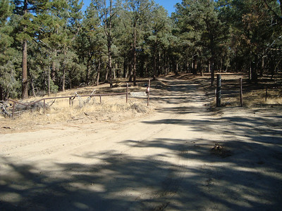 """This is the view of the site as you approach it. This spot is after about two miles from the made road. We left a sign on the rail fence, """"GWHS""""."""