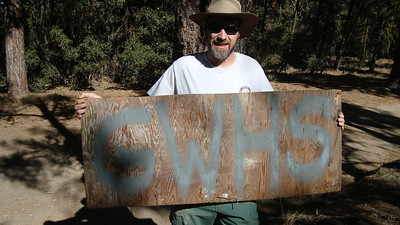 Here is the sign we made. We found a can of grey spray paint and made the sign.