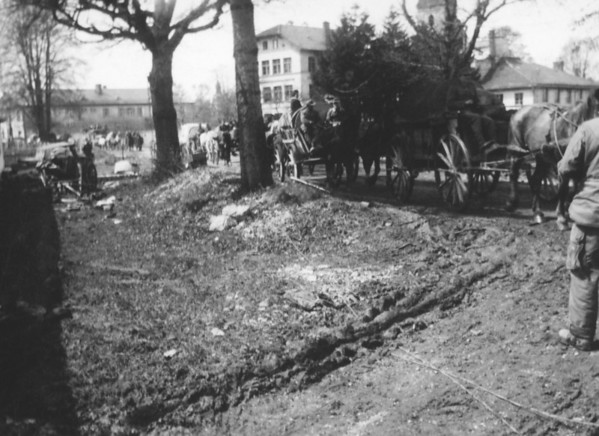 Photo courtesy of Fred Korb<br /> Roads in Germany and other parts of West Europe were filled in the spring of 1945 with surrendering Nazi soldiers, and displaced people returning home or  trying to flee West from Eastern Europe.