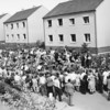 Photo courtesy of Fred Korb<br /> Local residents crowd around the 101st's Army Band in a Dutch town. The 101st also played a key role in the air invasion of Holland in Operation Market Garden in September 1944.