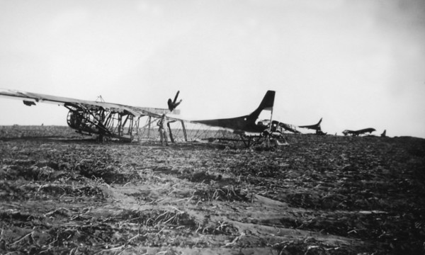 """Photo courtesy of Fred Korb<br /> The gliders had a delicate wood and steel tubing frame covered with a canvas skin that often burned on landing.  They were nicknamed """"Canvas Coffins"""""""" and also """"Silent Wings."""""""