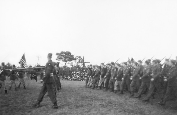Special to the Record-Eagle/Fred Korb<br /> Allied troops march in a ceremony to honor those who died in France and Normandy during the D-Day invasion in June 1944.