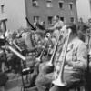 Photo courtesy of Fred Korb<br /> The brass section during a concert in a liberated village.