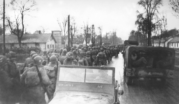Photo courtesy of Fred Korb<br /> The 101st Airborne Division leaves Mourmelon in France for Bastogne to help defend Allied line in Belgium threatened by Germany's last major offensive that turned into what now is known as the Battle of the Bulge from Dec. 16, 1944 to Jan. 25, 1945.