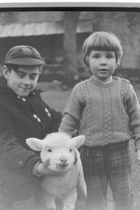 Mike Philips with sister Carolyn Bisco and Mikes rescued pet lamb