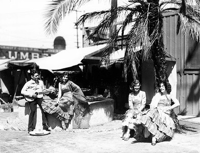 1936, Olvera St. Musician and Dancers