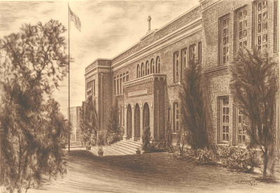 1933, School Front Drawing