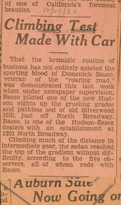 1930, Climbing Car Test