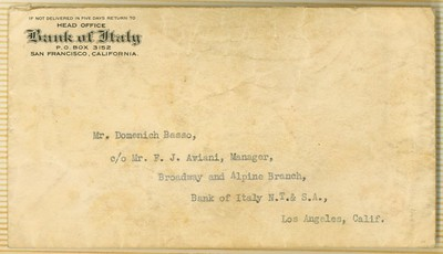 1927, Bank of Italy Envelope