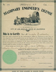 1899, Stationary Engineer's License