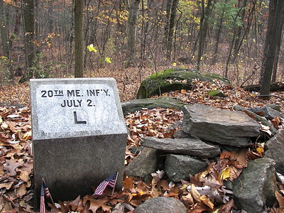 Marker for approximate location of the left flank of the 20th Maine Regiment