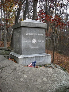 Monument marking the approximate position of the 20th Maine Regiment on Little Round Top, July 2nd, 1863