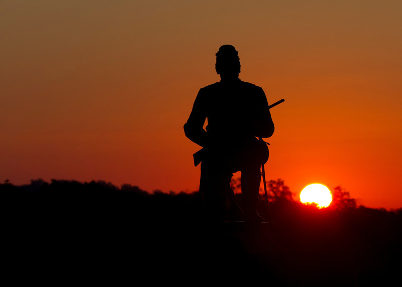 Union soldier at sunrise along Cemetery Ridge