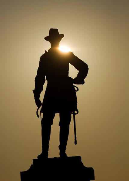 Webb statue at sunrise