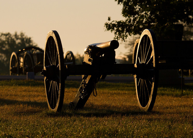 Cannon on Cemetery Ridge at sunrise