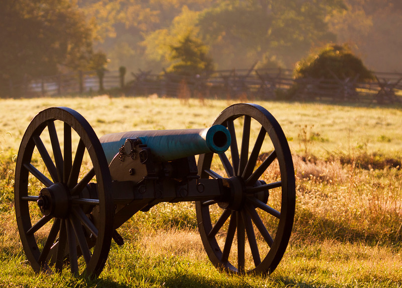 Cannon on Cemetery Ridge at sunrise