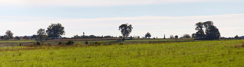 Panoramic of Cemetery Ridge (Union line) taken while approaching from Seminary Ridge