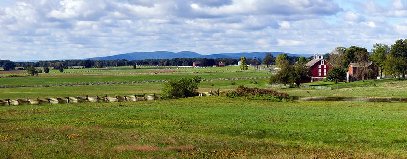 Panoramic shot of the Codori farm and surrounding battlefield
