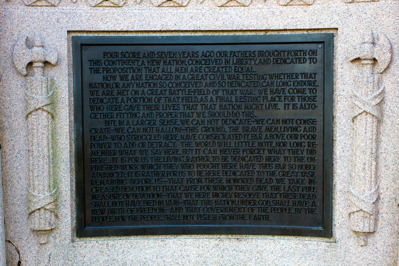 The Gettysburg Address on the Lincoln monument at the Soldiers National Cemetery