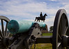 Cannon on Cemetery Ridge with Meade statue in the background