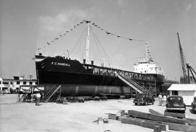 "Cargo ship ""F.C. Randall"" being christened at Gibbs Shipyard on October 1, 1946. Courtesy of State Archives of Florida, Florida Memory, http://floridamemory.com/items/show/66725"