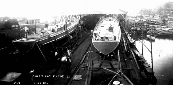 Ships under construction at Gibbs Gas Engine Company shipyard in 1918. Courtesy of State Archives of Florida, Florida Memory, http://floridamemory.com/items/show/142069