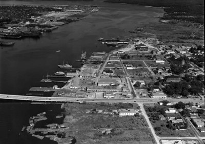 Aerial view overlooking the Gibbs Corporation shipyard on September 3, 1947. Courtesy of State Archives of Florida, Florida Memory, http://floridamemory.com/items/show/166955
