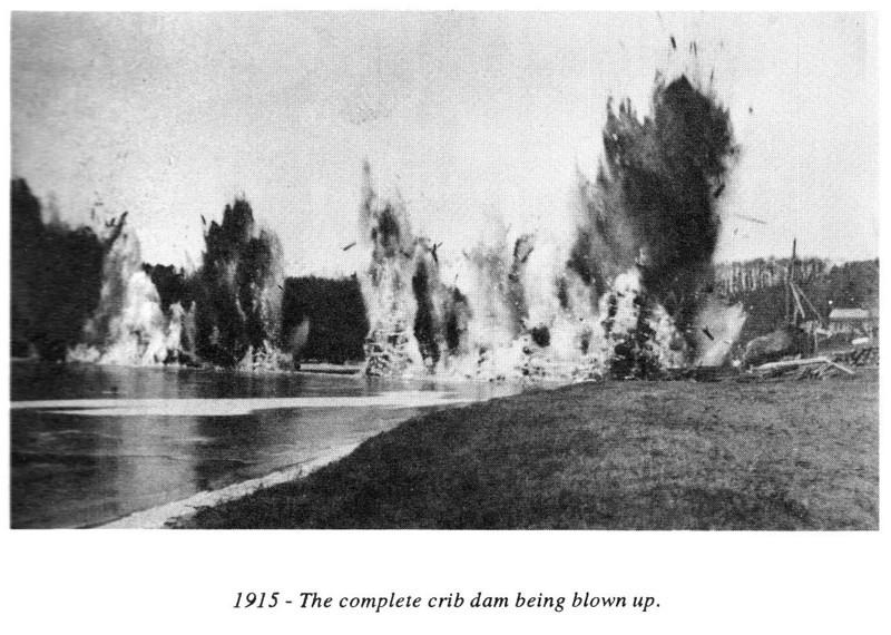 Gill Crib Dam blown Up