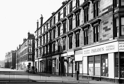 Watt St, west side south of Paisley Rd.   The name on the tenement wall says 'Wallace Grove', and  the first turning on the right was Wallace Grove Place, where there was a primary school.     April 1974