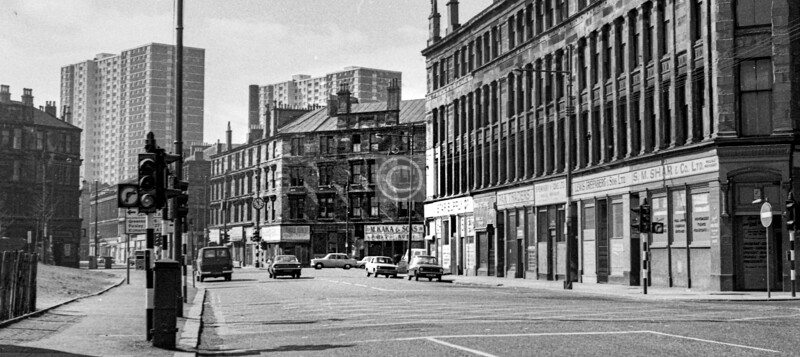 Gorbals St, west side, from Oxford St to the Cross.   April 1973