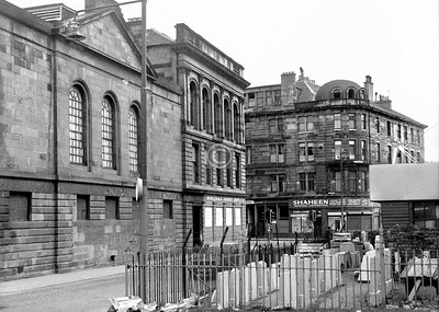 Bedford Lane   with the south side of the steamie and baths, and Lipton's (monumental masons) yard.    April 1973