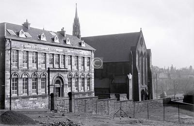 Rottenrow.Townhead School and the Barony Church. The Townhead School survived until comparatively recent times, but is now a car park for Strathclyde Uni, who own the Barony Church and hold graduation ceremonies in it. March 1973The Townhead area bounded on the south by the Rottenrow and on the east by Castle St, densely populated up the the mid 1960s, was almost totally cleared, some of it for the M8 and the Townhead interchange, some for the expansion of the university, and the rest because . . . well, just because. Only a handful of buildings survive – the Barony Church, Provand's Lordship, St Mungo's Church and retreat,  and the Martyrs' School (saved, only just, by the Mackintosh connection) and a few others. In 1973 the devastation though widespread was not quite complete, and I set out to record such fragments as were left.