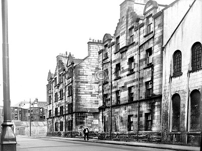 Arcadia St, west side north of London Rd.   Two model tenements of c1900, with part of the Greenhead Engine Works (c1860) on the right. All demolished around 1990.    July 1973