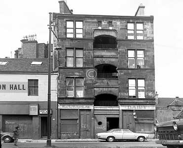 Green St, west side near London Rd.   An interesting and unusual design of tenement, with the broad stairwell open to the elements. Did it double as a drying area?     July 1973