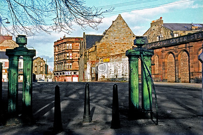 Binnie Place. The gateposts are still there, as are the station building* and the handsome tenement at the corner of Green St. and London Rd, but not much else. The gable end with the 4 windows belonged to Green St. Industrial School.   c1970  *demolished since I wrote this