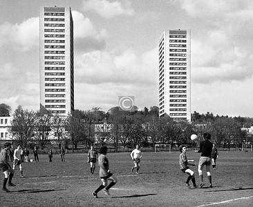 Another Park Mount AFC match (2nd XI I think) at the King George V pitches at Carnwadric.   I didn't have a long lens at this time, which is good as you can see some of the surroundings, two of the Kennishead high-rises in this case.  April 1973