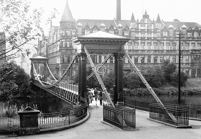 St Andrew's suspension bridge, with the colossal United Co-operative Baking Society building in McNeil St / Adelphi St.    September 1973