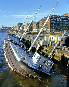 The Carrick's misfortune.  On the evening of January 11th 1978 an exceptionally low tide caused a problem with the Carrick's mooring which, compounded possibly by another incident, resulted in the clipper being holed below the waterline.