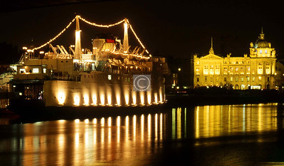 Caledonian Princess during her ten year (1988-98) stint as a floating night-club at the Broomielaw, and the Clyde Port Authority building.    November 1988