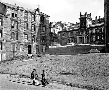 From W Graham St, looking up Garnet St to Buccleuch St. and Glasgow High School for Girls.   August 1974