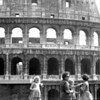 At the Colosseum are my Mom and my three sisters, from left Nancy, Susan and Priscilla, in matching travel dresses made by Mom.