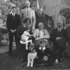 The Bisco family, guessing late 30's. back three Bob, Robert Bisco & Phil Bisco not sure of lady on the end. Middle row is Eunice Bisco with Camilla her daughter on her lap then Roberts Mother (called Mother 2) then not sure an gent on the end, maybe brother of Roberts. Front row is John with the dog.