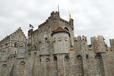 A view on the renovated Gravensteen castle, right in the centre of the city of Ghent (Gent) in Belgium.