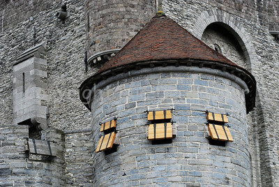 A view on the renovated Gravensteen castle, right in the center of the city of Ghent (Gent) in Belgium.