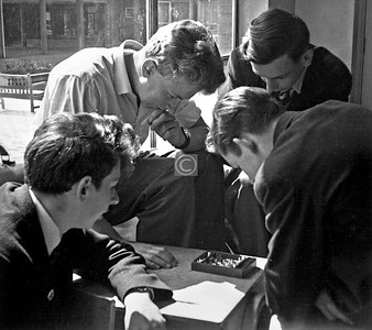 A lunchtime chess match. (clockwise from L) James Nelson, Douglas Henderson, Gordon Thomson, Robert Dickson