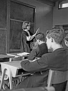 An English class, with a temporary supply teacher who may have been a Mrs Davidson. Female teachers were almost, and attractive young female teachers entirely, unknown at HBGS in those pre-co-ed days, so this was a great and valued treat for us.Jack Kernohan, Michael Williamson